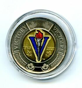 2020 $2 CANADA TOONIE COLOR VARIETY WWII V75 75TH V-E DAY VE-DAY PLASTIC CAPSULE