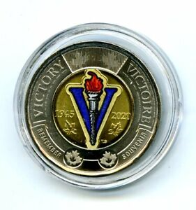 2020 $2 CANADA TOONIE COLOR VARIETY WWII 75TH V-E DAY VE-DAY IN PLASTIC CAPSULE