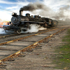 8x8ft Photography Backgrounds Steam Train Scene Studio Vinyl Photo Bakdrop Props