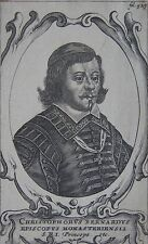 CHRISTOPHORUS BERNARDUS, Portrait, gravure 17 ème. Dimensions : 90 mm X 140 mm.