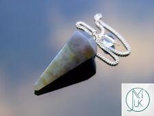 Punto de piedras preciosas de Péndulo Radiestesia Cristal Labradorita adivino Curación Reiki Chakras
