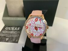 Guess Women's Logo Pink Leather Strap Watch U1206L3 NEW IN BOX!!