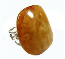 Grand pourtour Nature Ambre Argent Bague Natural Baltic Amber Vintage
