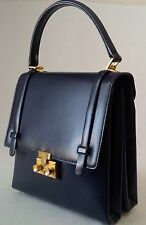 GOLD PFEIL LEATHER 2-SECTION KELLY STYLE HANDBAG NAVY MADE IN GERMANY EXCELLENT!