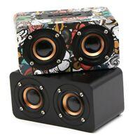 Wireless Bluetooth Speaker Retro Wooden Super Bass Stereo Household Loudspeaker