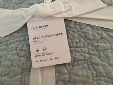 pottery barn Belgian flax linen floral stitch Full Queen Quilt mineral blue