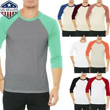 Mens Baseball Raglan T Shirts 3/4 Sleeve Tee Team Sport Jersey Solid Casual