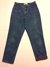 LL Bean Flannel Lined Sz 10 Regular, Relaxed Blue Jeans 30 X 29.5 Double L