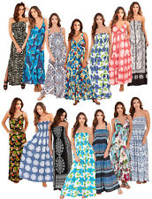 Ladies Sleeveless Summer Dress Strappy Maxi Beach Holiday Dress Womens Size