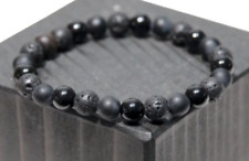 Black Tourmaline Lava Stone Matte Onyx Healing Stretch Bracelet empath Men Women