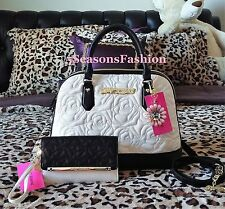 🦋 BETSEY JOHNSON Bag WALLET SET White QUILTED ROSE Faux Leather Pink Flower Bow