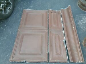 Vintage Tin Metal Ceiling tiles 12x48 Removed 1880s Tavern Ceiling Lots Of Them