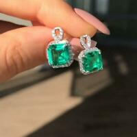 3.50Ct Asscher Cut Emerald-VVS1 Diamond Halo Stud Earrings 14K White Gold Finish