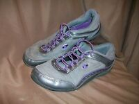 *USED* *WORN* CHAMPION WOMENS SIZE 8 WALKING SHOES SILVER GREY PURPLE