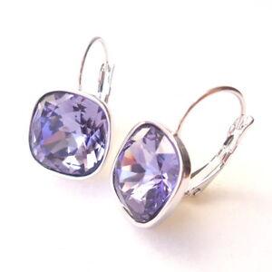 Tanzanite Purple Crystal Drop Earrings made with Cushion Cut Swarovski Prom Gift