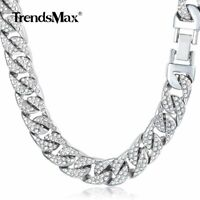 """14mm 24-36"""" Curb Cuban Link Chain Necklace Iced Out Crystal Rhinestone Jewelry"""