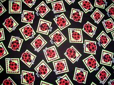 LADYBUGS INSECTS BUG PATCHES on BAUM TEXTILES FLANNEL COTTON Priced By The Yard