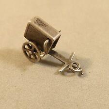VINTAGE Sterling Silver ORGAN GRINDER CART Bracelet CHARM Crank Spins 925 VS02E