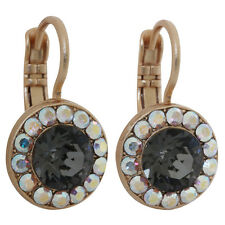 MARIANA Rose Gold TUXEDO Grey Gray Crystal AB Round Disc Swarovski Earrings 3701
