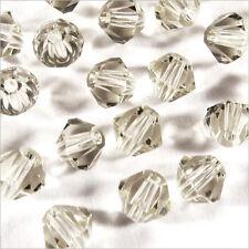 40 Perles Tchèques Toupies en Cristal 4mm Gris Clair