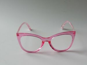 Betsey Johnson LARGE CAT EYE Reading Glasses CLEAR PINK FRAME PRINT ARMS NEW
