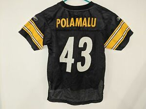 TROY POLAMALU #43 Pittsburgh Steelers NFL Football Jersey Reebok Boys Medium 5-6