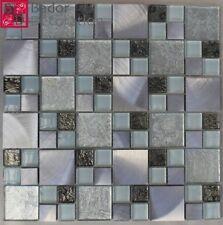 Glasmosaik Mosaike Mosaikfliesen Glasfliesen Mosaik aus Glas Aluminium 30x30 1m²