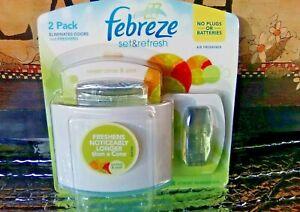 Febreze Set & Refresh SWEET CITRUS ZEST 2 refills 1 Holder fits Small Spaces