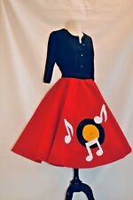 50's Red Poodle Skirt with Record Player Motif (Medium)