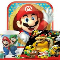 Super Mario Party Pack for 8 Guests - Plates, Napkins, Cups & Tablecover