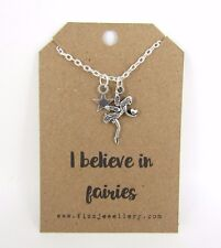 Girls I Believe in Fairies Fairy Star Silver Plated Message Card Necklace New