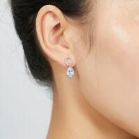Natural Pear Sky Blue Topaz Drop Dangle Earrings for Women 925 Sterling Silver