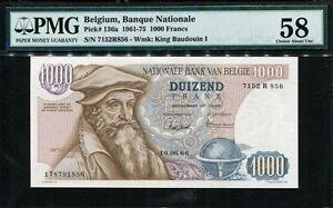Belgium 1961-1966-1975, 1000 Francs, P136a, PMG 58 AUNC