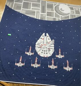 Pottery Barn Kids Star Wars Quilt FULL Size Millenium Falcon X-Wing Death Star