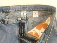 Lucky Brand Women's Crossover Jeans Mid Rise Blue Split Ankle Flare Size 6/28