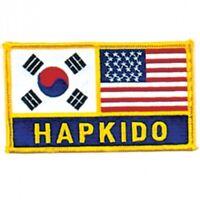 """Hapkido Korea US Flag Martial Arts Patch - 5"""""""