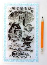 "Clear Stamps Lot (4""x7"" Christmas Evening Santa FLONZ Vintage 280 Rubber Acrylic"