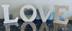 George Home Silver Glitter Love Letters