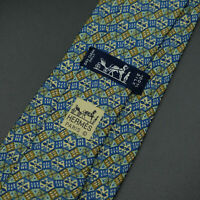 Hermes Paris Made In France Multi Color Geometric Pattern Silk Tie 7740 OA