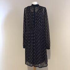 NOA NOA Dress Size Medium Black Patterned Boho Sheer High Neck