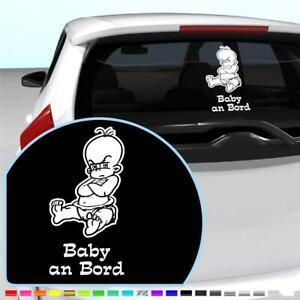 Baby an Bord Aufkleber Wunschname an Bord Heckscheibe Sticker Weiß 28x14 cm #189