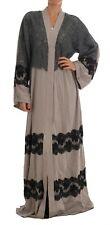 Dolce & Gabbana Dress Cape Gray Floral Applique Lace Kaftan It40 / Us6