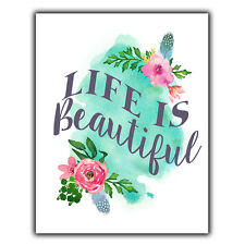 LIFE IS BEAUTIFUL METAL WALL PLAQUE Sign print inspiration art home decor