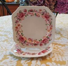 Johnson Brothers Pink Margaret Rose Square Salad Plates - 2 - very hard to find