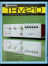 Rare Collectible Nikko TRM-210 Stereo Amplifier Amp Dealer Brochure Info Ad
