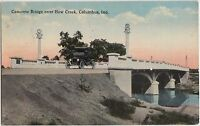 Indiana Ind Postcard c1910 COLUMBUS Concrete Bridge over HOW CREEK Car