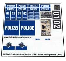Lego® Custom Pre-Cut Transparent Sticker for City set 7744 - Police Headquarters