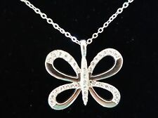 BEAUTIFUL SILVER DIAMONTE BUTTERFLY PENDANT & CHAIN NECKLACE - NEW IN GIFT BOX