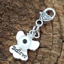 "Believe Guiding Angel White Evil Eye Dangle Clip Charm Healing pendant 1"" Heart"