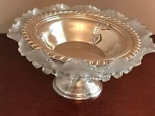 Ruffled Glass Bowl w/Buttons on Silver Base and Silver Insert Dish WM Rogers